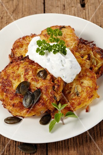 Turnip cakes with pumpkin seeds and herb quark