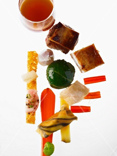 Ingredients for Pot au Feu arranged like canapés
