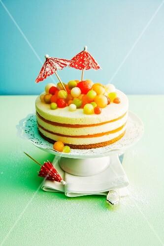 A melon and champagne cream cake