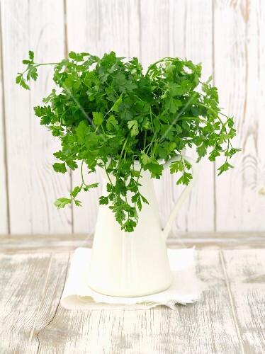 Fresh parsley in a ceramic jug