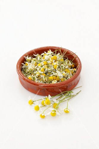 Dried camomile flowers in a terracotta dish