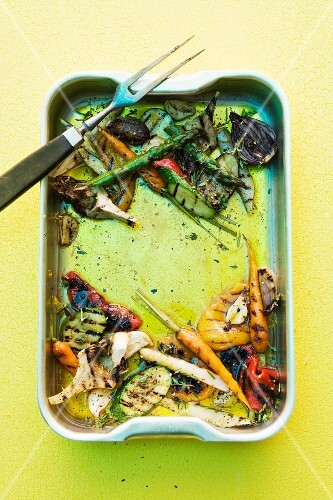 Grilled vegetables in a baking dish