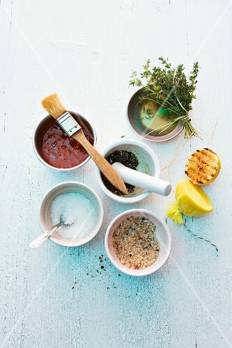 Various barbecue spices, barbecue sauce, oil and herbs