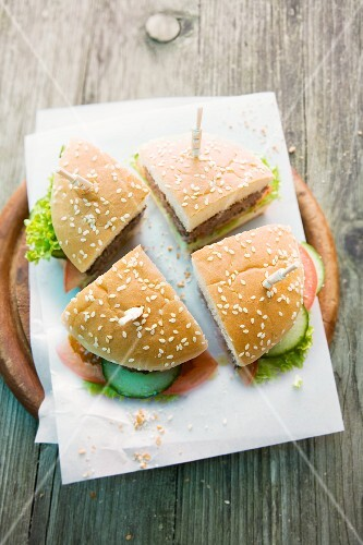 Grilled Burger with Tomato on Grilled Bun