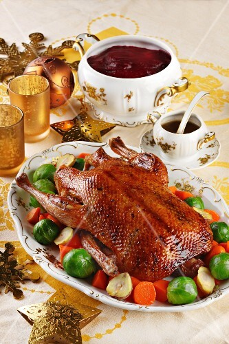 Christmas goose with Brussels sprouts and carrots