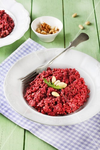 Buckwheat risotto with beetroot pesto