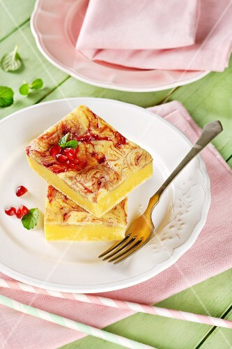 Lemon slices with pomegranate seeds