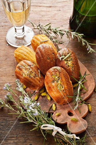 Madeleines with pistachios and rosemary