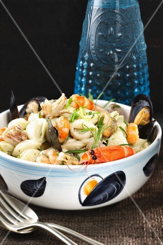 Seafood stew with mussels and prawns