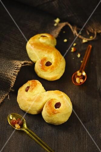 Lussekatter (Swedish saffron buns) with raisins