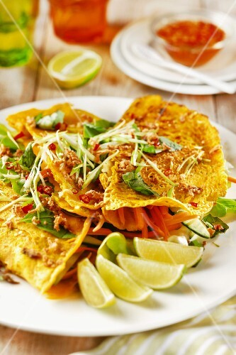 Pancakes with vegetables and limes