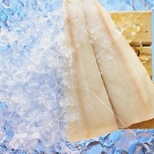 Halibut fillet on ice