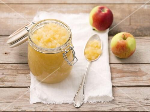 A jar of stewed apples
