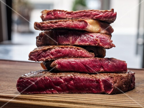 A stack of entrecote steaks