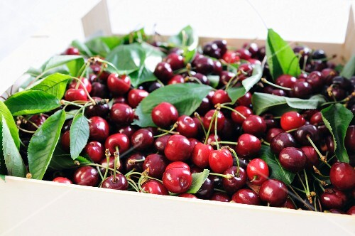 Cherries in a crate