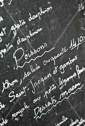 A specials board in a restaurant (France)