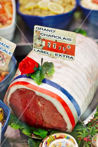 Charolais beef in a sales display