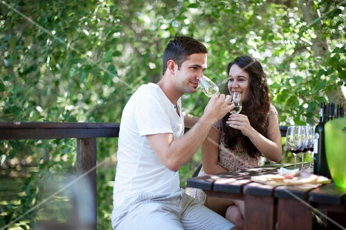 A couple enjoying a wine tasting session