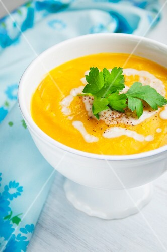 Butternut squash soup with parsley