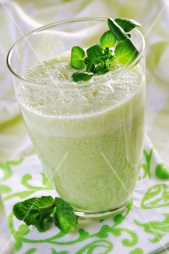 A green drink with yogurt