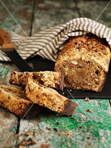 Carrot and nut bread, sliced
