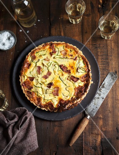 Courgette quiche with bacon