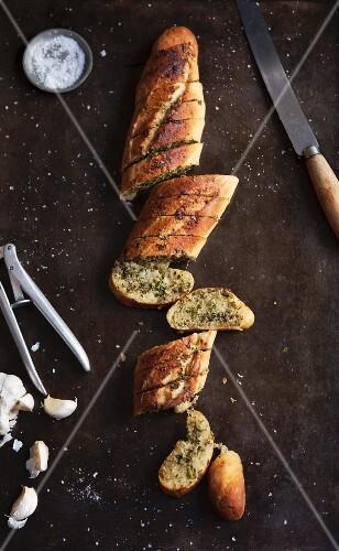 Garlic baguette with salsa verde
