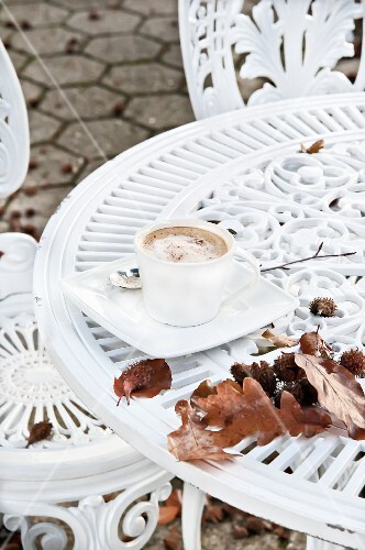 A cappuccino on a table with autumnal leaves