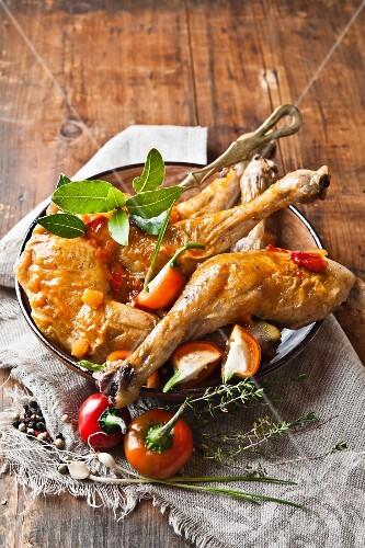 Chicken legs in a pepper marinade