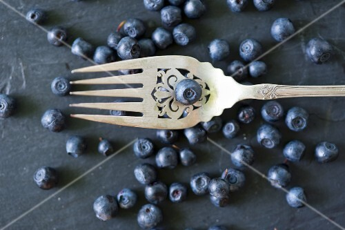 Blueberries with a fork