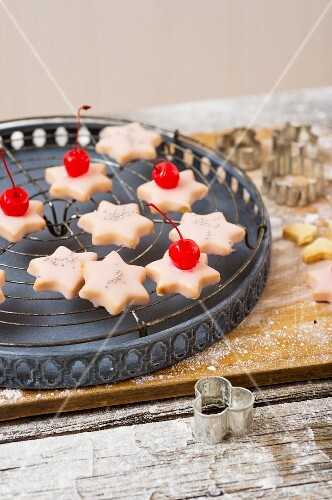 Punch stars topped with glace cherries for Christmas