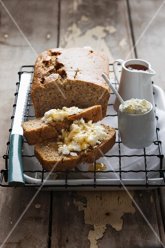 Banana and coconut bread with cottage cheese and maple syrup
