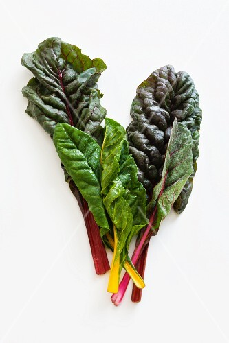Red and yellow chard leaves