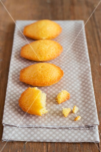 Madeleines on a cloth