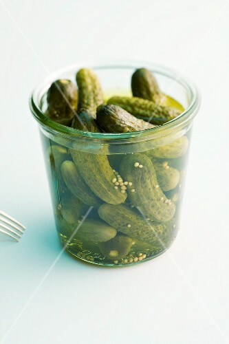 A jar of gherkins