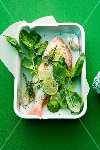 Bream with basil and limes on a piece of paper