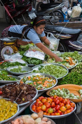 Fresh vegetables on a market stall in Hat Yai, Thailand