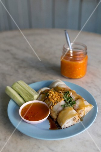 Steamed rice flour rolls with a spicy dip, Thailand