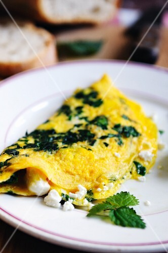 Omelette with stinging nettles and feta cheese