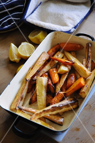 Roasted root vegetables in a roasting dish