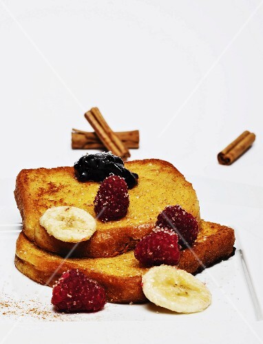French toast with strawberries and banana