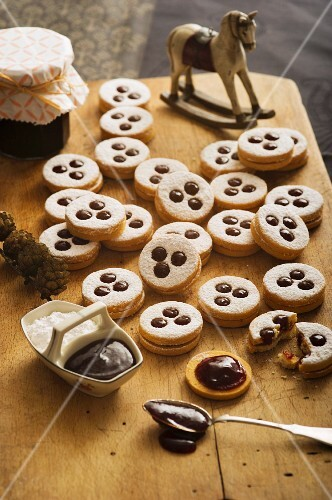 Christmas shortbread biscuits on a wooden table
