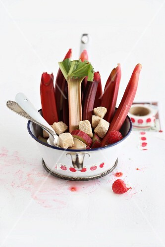 Ingredients for rhubarb compote in a pan