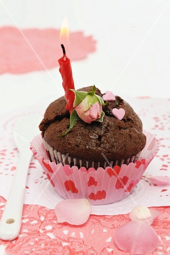 A chocolate cupcake for Valentine's Day