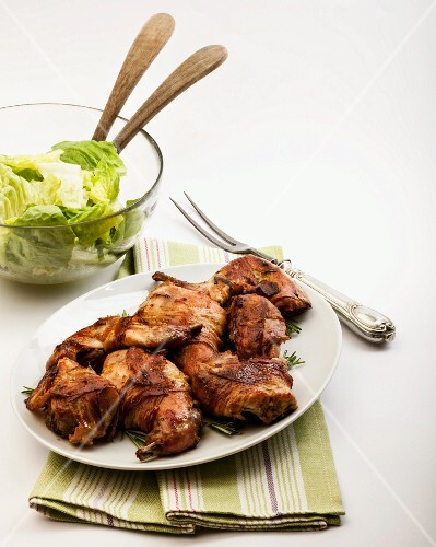 Rabbit with mustard and a side salad