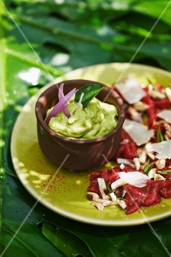 Beef carpaccio with avocado sauce