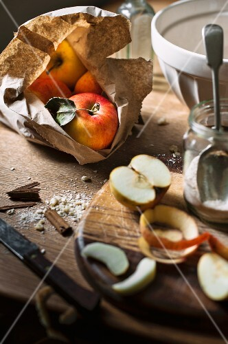Apples and various baking ingredients