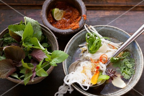 Vietname soup with ingredients