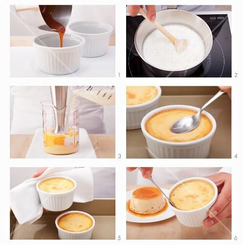 Creme caramel with lemongrass being made (Vietnam)