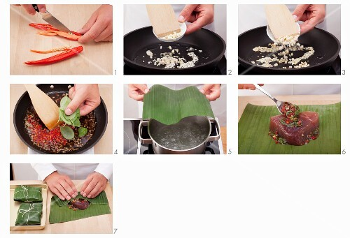 Tuna in banana leaves being made (Vietnam)